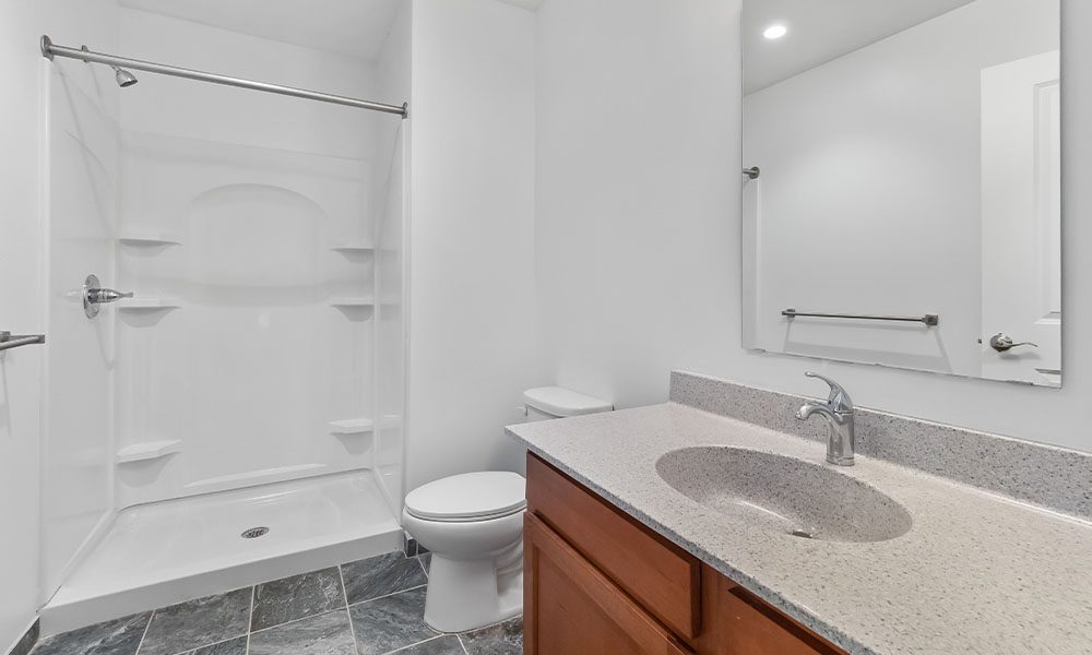 Bathroom area in an apartment at Union on 5th