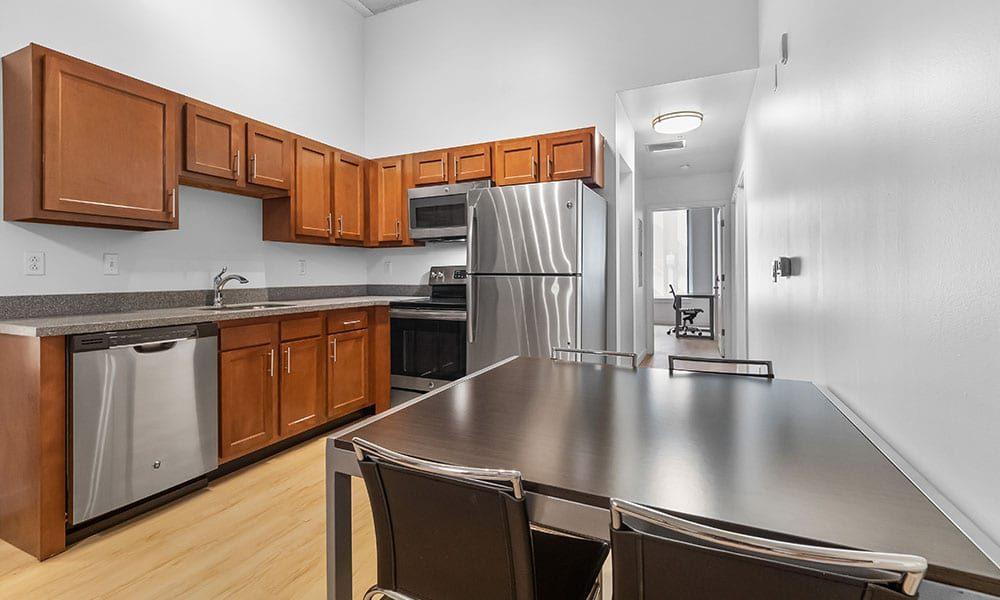 Kitchen Area in an apartment at Union on 5th